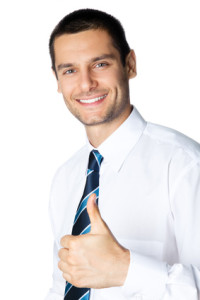 Happy smiling businessman with thumbs up gesture, isolated