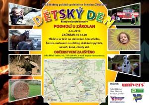 Pozvánka na dětský den, obsahuje fotky a mapu s určením místa konání